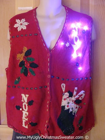 "Tacky Xmas Sweater Vest with Lights with ""JOY"" and ""NOEL"" (g126)"