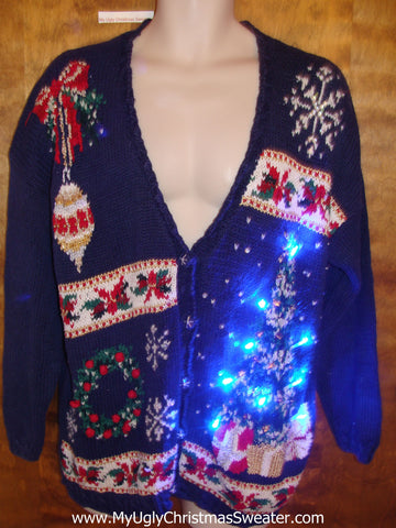 Horrible Busy Cardigan Light Up Ugly Xmas Sweater