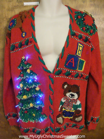 Fun Tree and Bear Light Up Ugly Xmas Sweater