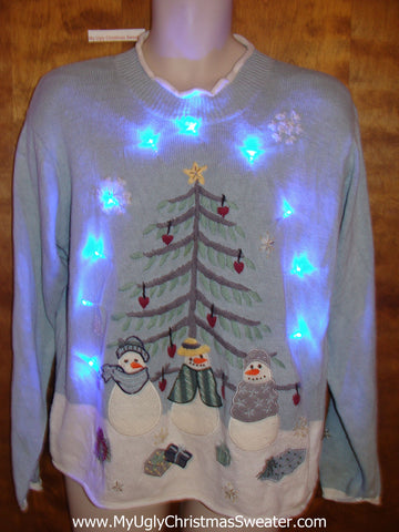 Snowmen and Penguin Light Up Ugly Xmas Sweater