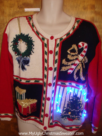 80s Cardigan with Candycane Light Up Ugly Xmas Sweater