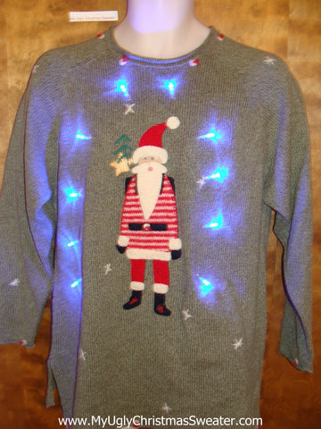Skinny Santa Light Up Ugly Xmas Sweater