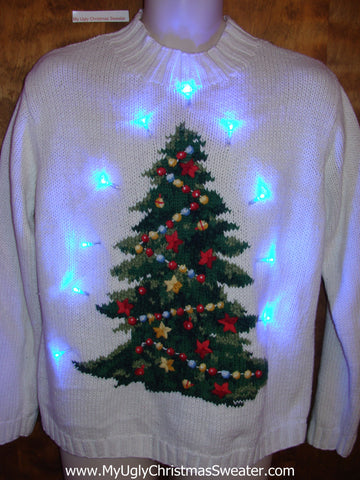 Light Up Ugly Xmas Sweater Pullover with Tree
