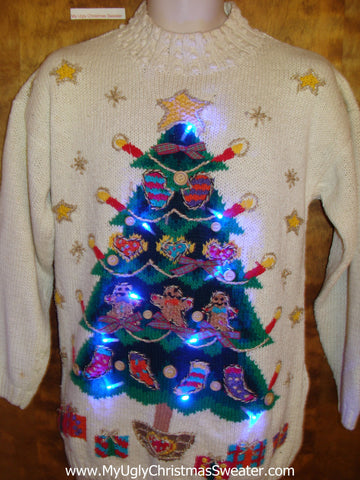 Light Up Ugly Xmas Sweater Tree and Candles