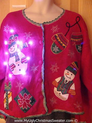 Tacky Xmas Sweater Snowmen with Mittens and Lights (g127)