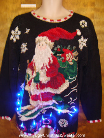 Rare Skiing Santa Light Up Ugly Xmas Sweater