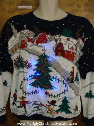 Winter Wonderland 2sided 80s Light Up Ugly Xmas Sweater