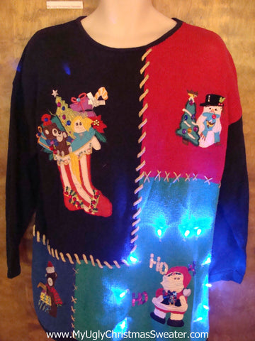 Light Up Crafty Ugly Xmas Sweater Pullover