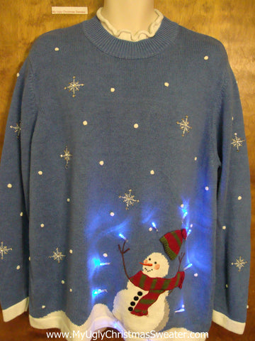 Snowman in the Wind Light Up Ugly Xmas Sweater