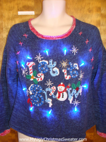 LET IT SNOW Light Up Ugly Xmas Sweater