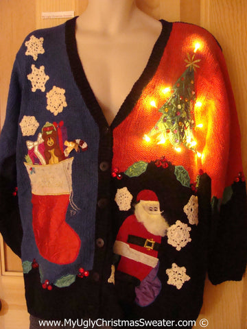 Tacky 80s Xmas Sweater Cardigan with Lights (g128)