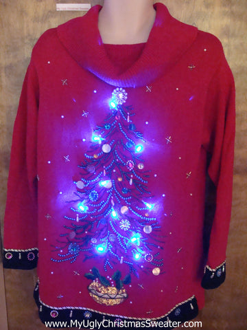 Light Up Red Ugly Xmas Sweater with Bling Tree