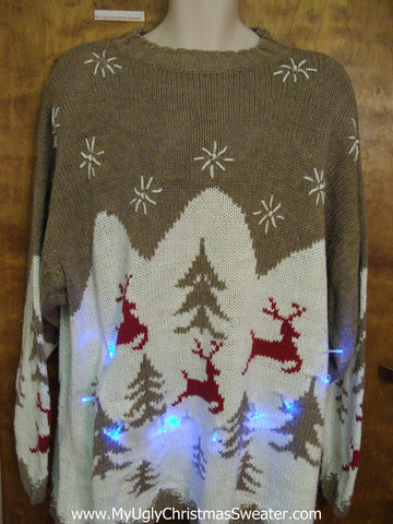 Vintage Reindeer and Trees 2sided Light Up Ugly Xmas Sweater