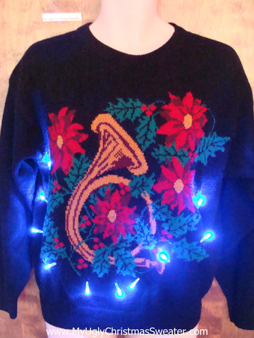 Horrible Trumpet and Poinsettias Light Up Ugly Xmas Sweater