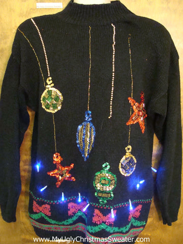 Bling Ornaments 80s Light Up Ugly Xmas Sweater