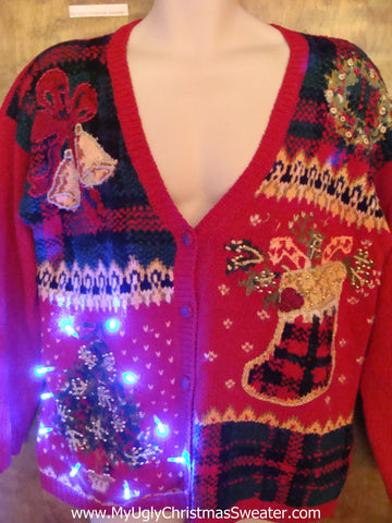 Light Up 80s Ugly Xmas Sweater Cardigan