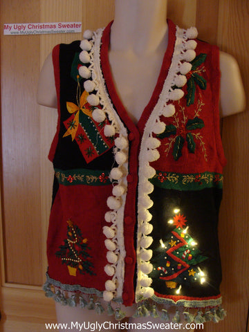 Tacky Ugly Christmas Sweater Vest with Lights and Fringe (g12)
