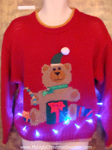 Retro 80s Bear Ugly Christmas Sweater with Lights