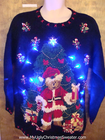 80s Tree and Bear Ugly Christmas Sweater with Lights