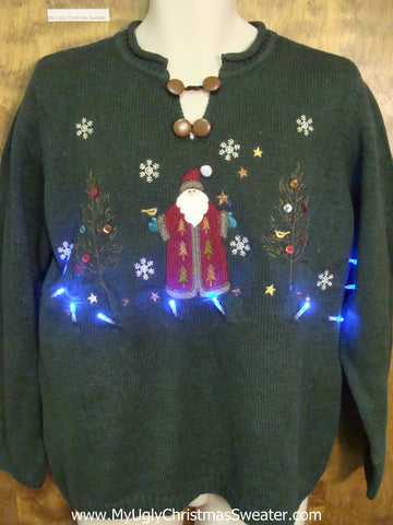 Ugly Christmas Sweater with Lights Santa in Snow