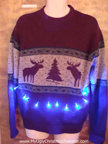 Vintage Reindeer Moose Ugly Christmas Sweater with Lights