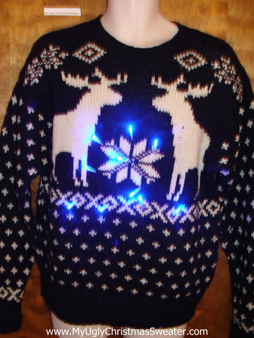 Dueling Reindeer Ugly Christmas Sweater with Lights