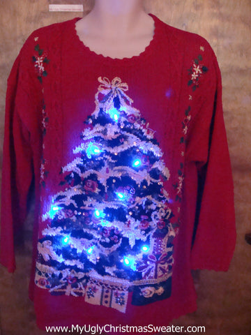 Massive Lit Up Tree Ugly Christmas Sweater with Lights