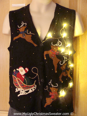 Tacky Xmas Sweater Vest with Lights Flying Reindeer and Santa (g130)