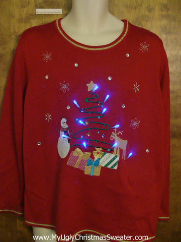 Ugly Red Christmas Sweater with Lights Tree and Gifts