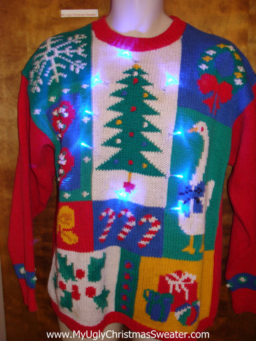Colorful 80s Ugly Christmas Sweater with Lights