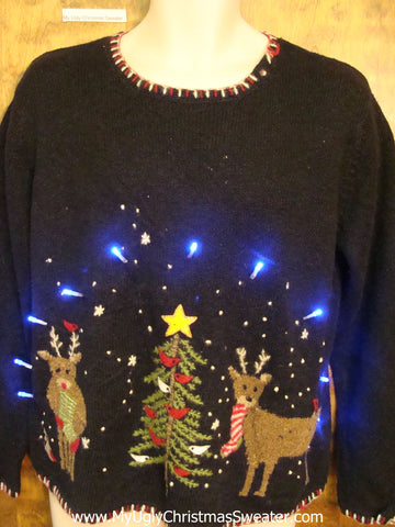 Ugly Christmas Sweater with Lights and Two Reindeer