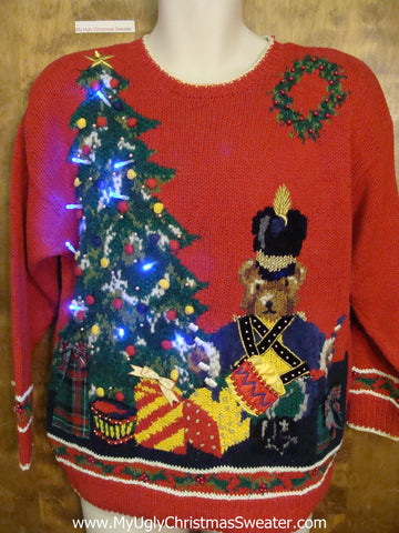 80s Ugly Christmas Sweater with Lights Nutcracker and Tree