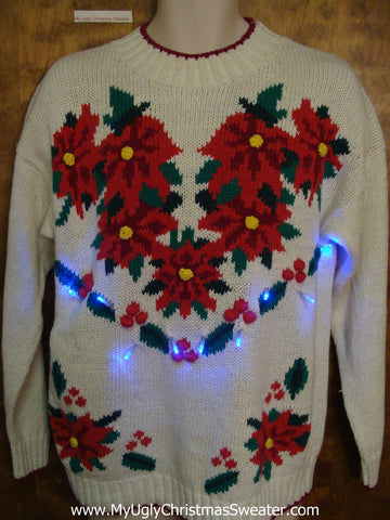 Horrible Poinsettias Ugly Christmas Sweater with Lights