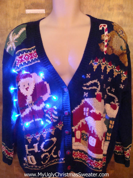 Retro 80s Lights Ugly Sweater With Hohoho Christmas 0ffdgq