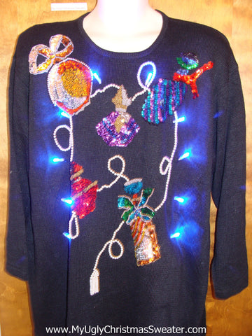 80s BLING Retro Ugly Christmas Sweater with Lights