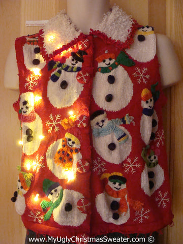 Tacky Xmas Sweater Vest with Lights Wobbly Snowmen Furry Collar (g131)