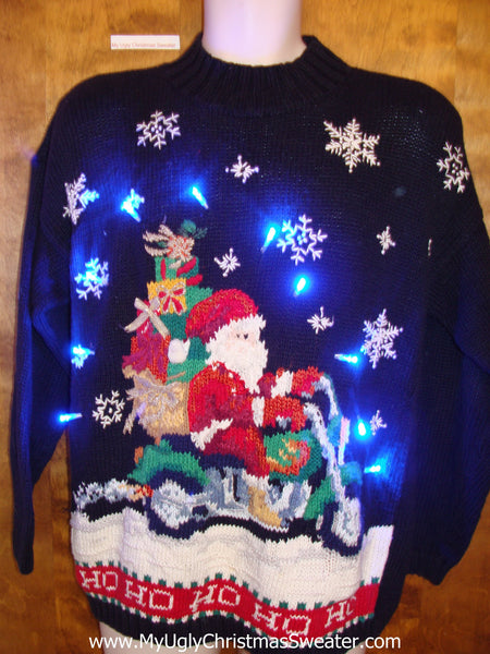 Motorcycle Santa Ugly Christmas Sweater With Lights