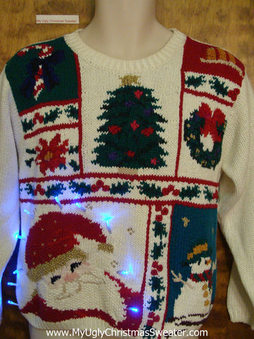 Smiling Santa Ugly Christmas Sweater with Lights