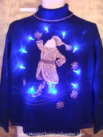 Fancy Santa Ugly Christmas Sweater with Lights