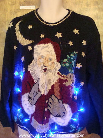 Scolding Santa Ugly Christmas Sweater with Lights