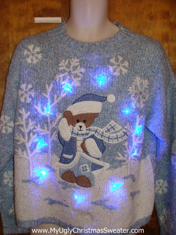Baby Bear in the Woods Ugly Christmas Sweater with Lights