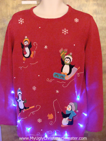 Sporty Penguins Ugly Christmas Sweater with Lights