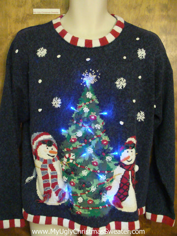 Carrot Nosed Snowmen Ugly Christmas Sweater with Lights