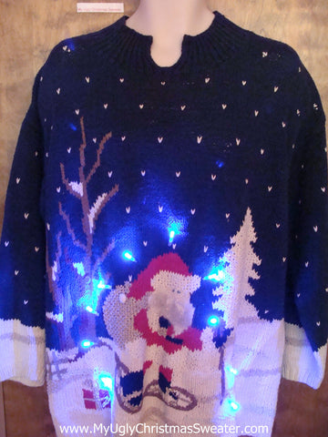 Snowshoeing Santa Ugly Christmas Sweater with Lights