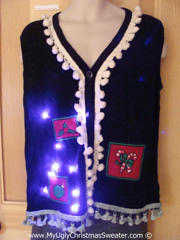 Tacky Xmas Sweater Vest with Lights Pom Pom Tassle Trim (g132)