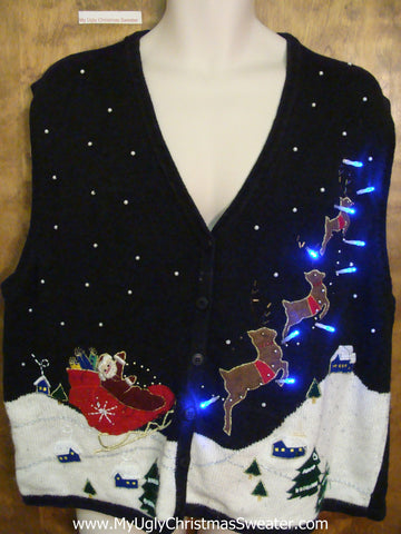 Santa and Reindeer Ugly Christmas Sweater Vest with Lights