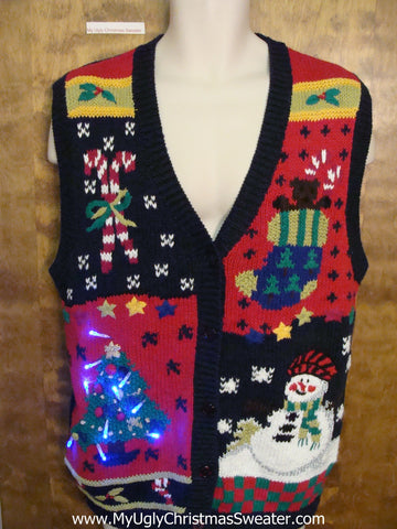 Colorful and Crazy Ugly Christmas Sweater Vest with Lights