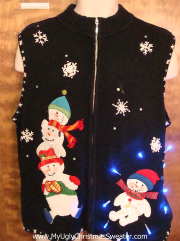 Happy Snowmen Ugly Christmas Sweater Vest with Lights
