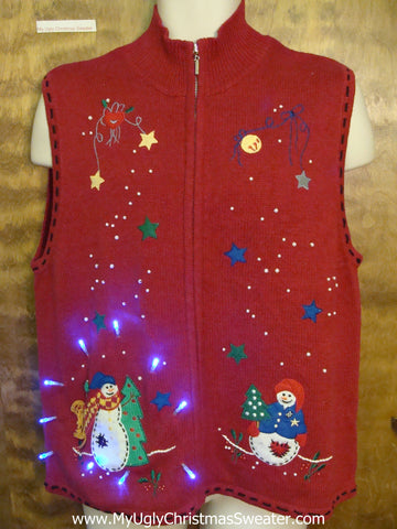 Ugly Red Colorful Christmas Sweater Vest with Lights