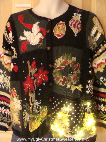 Tacky Mess of Color Xmas Sweater with Lights (g133)